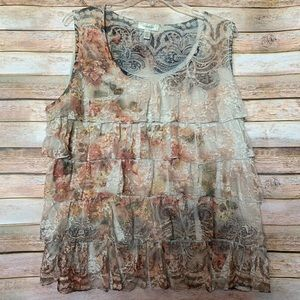 Dress Barn Vintage Floral Ruffled Lace Top - 2X